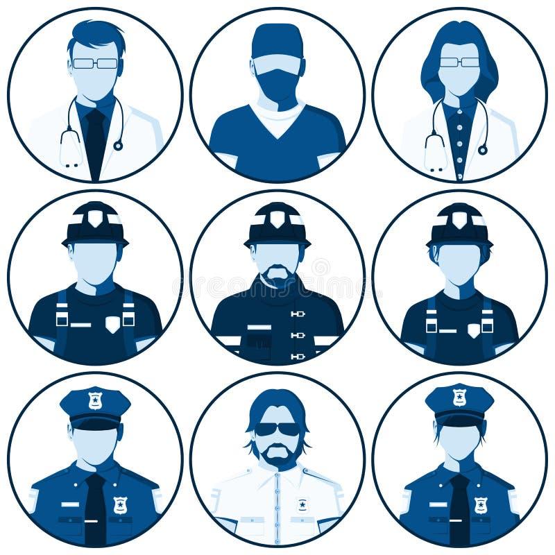 Avatar de la gente de servicios de emergencia ilustración del vector