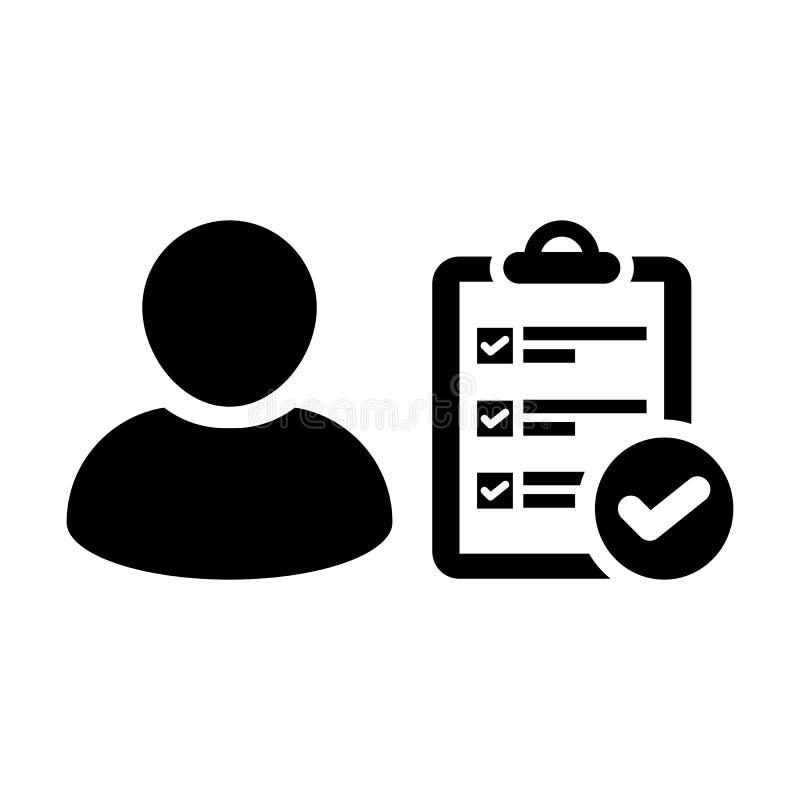 Avatar de profil de personne masculine de vecteur d'icône d'examen avec le symbole de document et de coutil illustration libre de droits