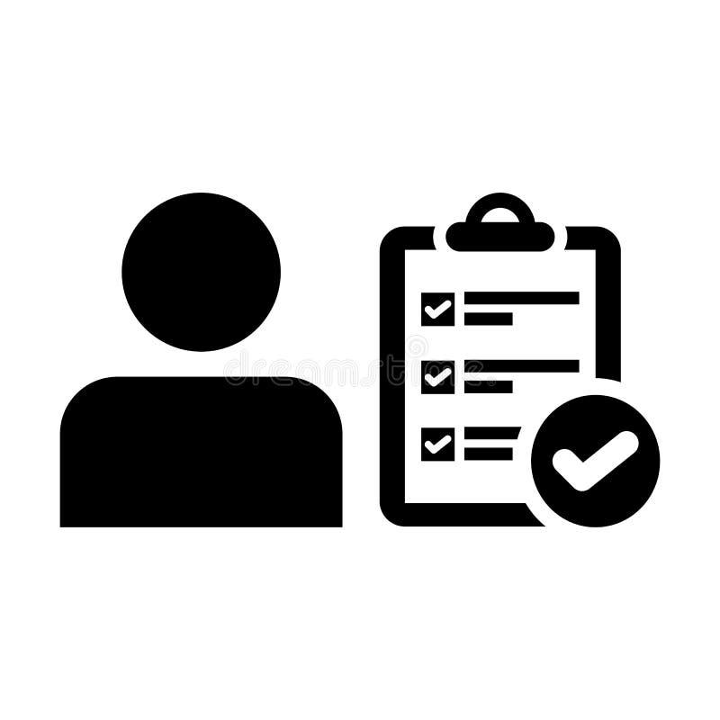 Avatar de profil de personne masculine de vecteur d'icône de symbole de coutil avec le document de rapport de liste de contrôle d illustration stock