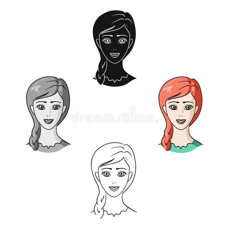 Avatar de una muchacha con el pelo rojo Avatar e icono de la cara solo en la historieta, ejemplo negro de la acci?n del s?mbolo d ilustración del vector