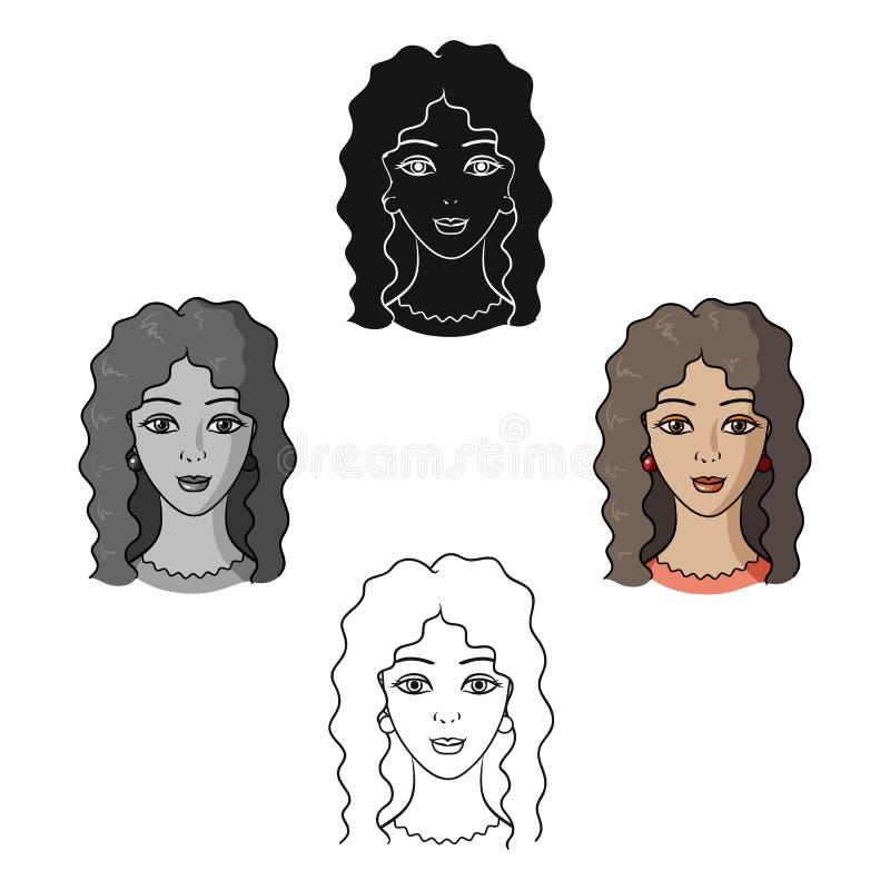 Avatar de una mujer con el pelo rizado Avatar e icono de la cara solo en la historieta, ejemplo negro de la acci?n del s?mbolo de libre illustration