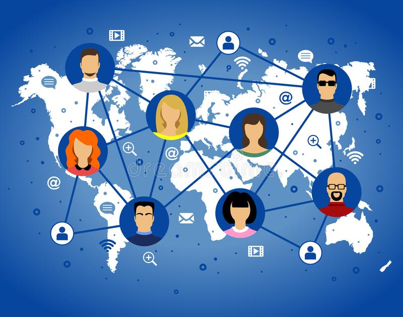 Avatar de vectorpictogrammen van Internet van beeld menselijke gezichten op wereldkaart grad stock illustratie