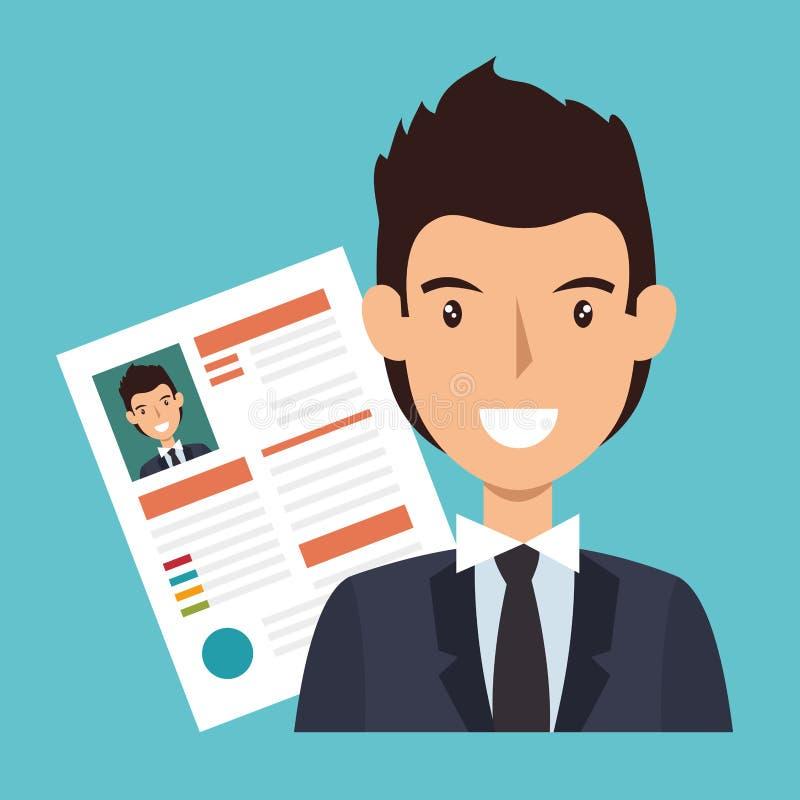 avatar del carácter del hombre de negocios con el icono del cv libre illustration