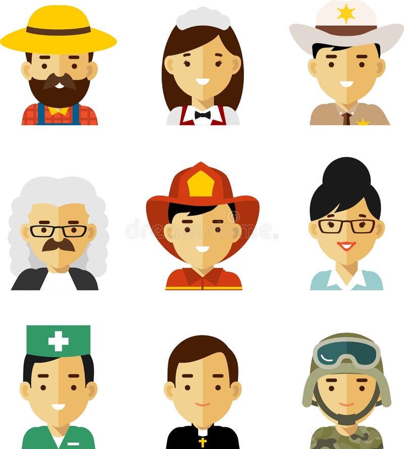 Avatar del empleo de la gente fijado en estilo plano ilustración del vector