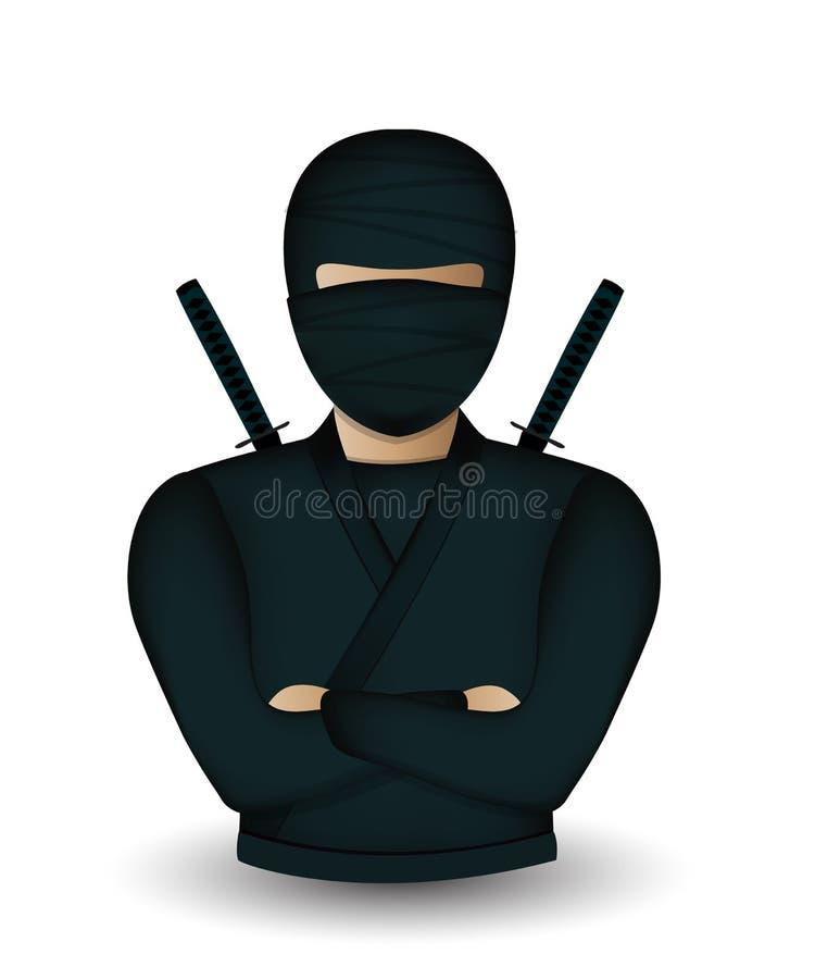 Avatar del guerriero di Ninja illustrazione di stock