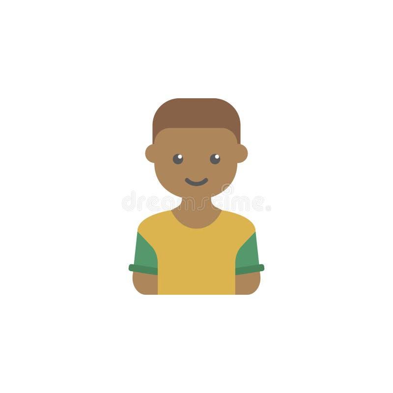 avatar del icono coloreado muchacho negro Elemento del icono de los niños para los apps móviles del concepto y del web El avatar  libre illustration