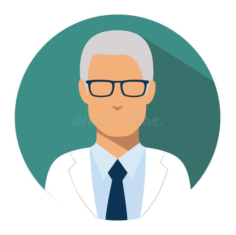Avatar del médico de la cabeza del icono del web del doctor ilustración del vector