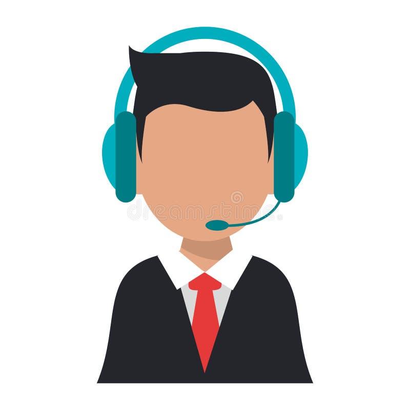 Avatar del operador del agente del centro de atención telefónica ilustración del vector