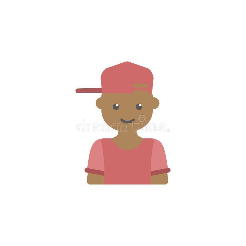 avatar dell'icona colorata ragazzo di hippy Elemento dell'icona dei bambini per i apps mobili di web e di concetto L'avatar color royalty illustrazione gratis
