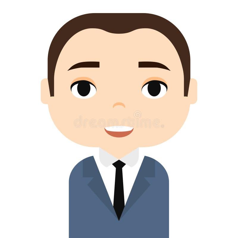 Avatar dell'uomo con i fronti sorridenti Personaggio dei cartoni animati maschio Uomo d'affari Icona bella della gente Di impiega illustrazione di stock