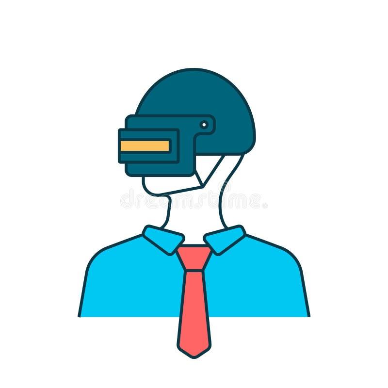 Avatar dell'uomo sul casco d'acciaio illustrazione di stock