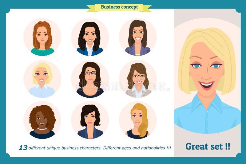 Avatar della donna di affari messi con il fronte sorridente raccolta delle icone del gruppo Vettore isolato su bianco Donna svegl illustrazione di stock