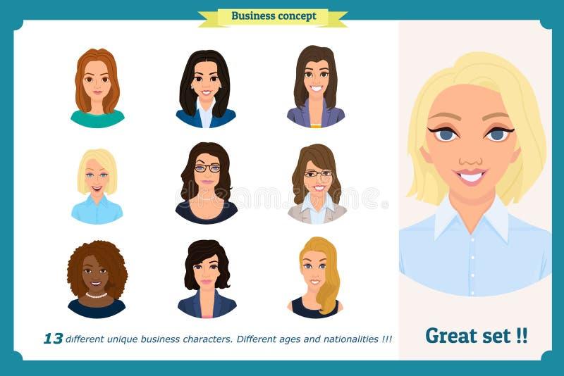 Avatar della donna di affari messi con il fronte sorridente raccolta delle icone del gruppo Vettore su bianco Donna sveglia in ve royalty illustrazione gratis