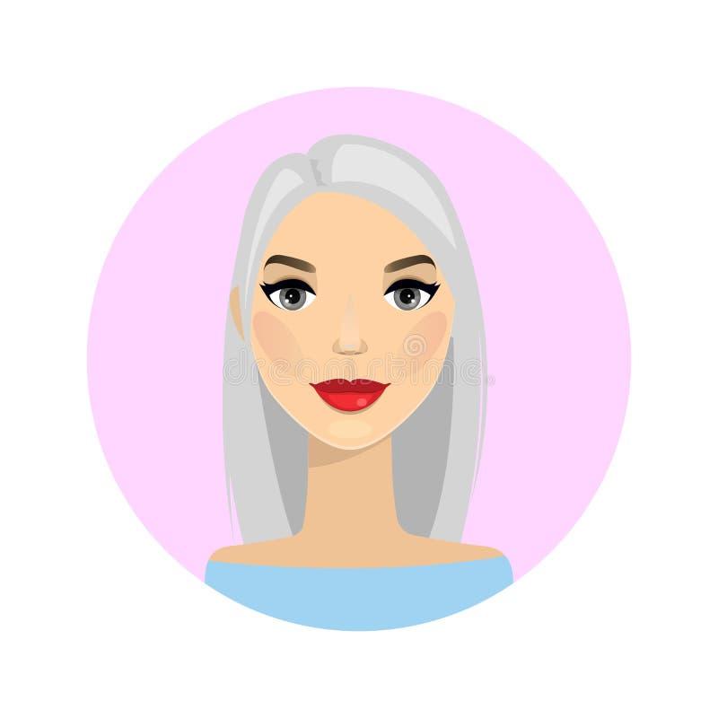 Avatar della donna Illustrazione di vettore Bella ragazza del fumetto nello stile piano di progettazione Donna di affari dell'ava illustrazione vettoriale