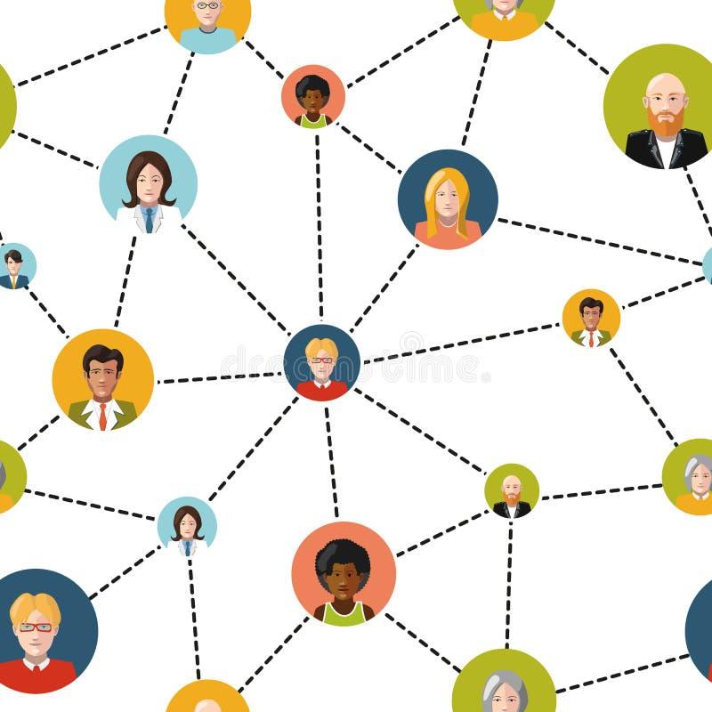 Avatar della gente nella rete sociale su bianco illustrazione di stock