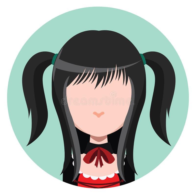 Avatar della ragazza di Goth illustrazione vettoriale