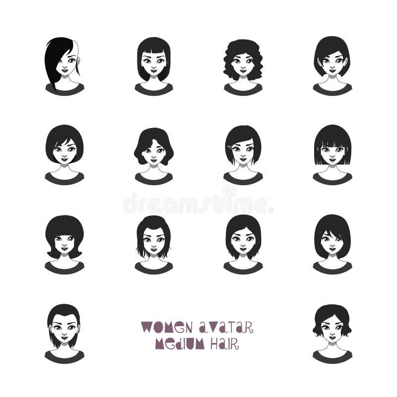Avatar delle donne con le acconciature medie illustrazione di stock