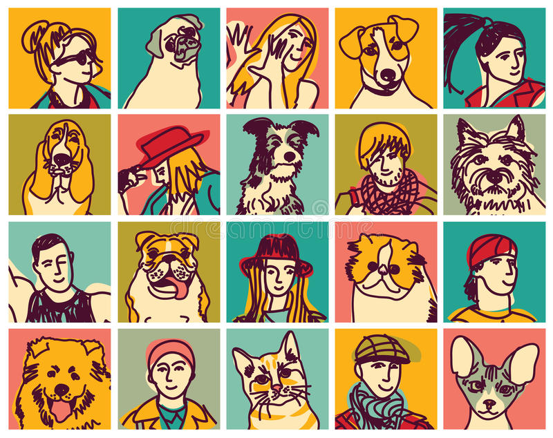 Avatar delle icone delle teste degli animali domestici e della gente messi illustrazione di stock