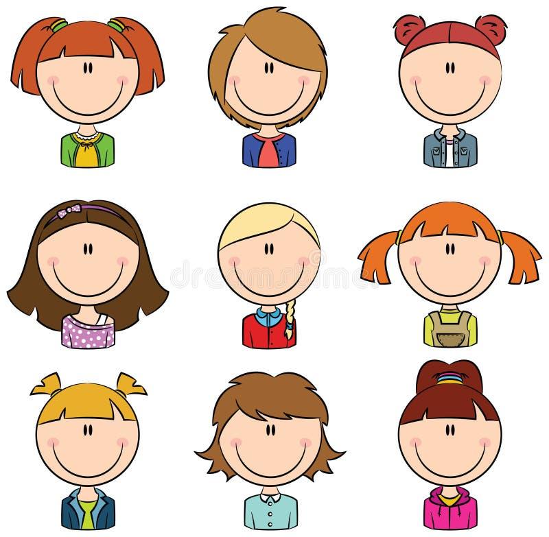 Avatar delle ragazze illustrazione di stock