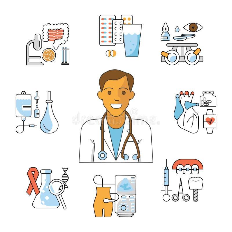 Avatar di medico ed icone mediche royalty illustrazione gratis