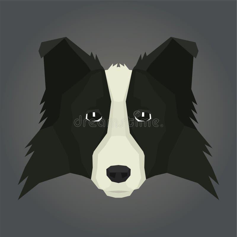 Avatar di stile di Collie Geometric del confine della raccolta del cane illustrazione di stock