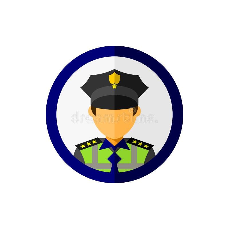 Avatar do agente da polícia com ícone do círculo ilustração stock