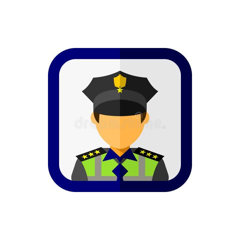 Avatar do agente da polícia com ícone quadrado ilustração stock