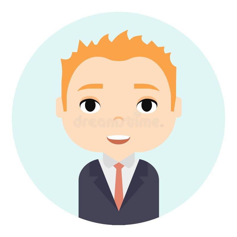 Avatar do homem com caras de sorriso Personagem de banda desenhada masculino Homem de negócios Ginger People Icon considerável Tr ilustração stock