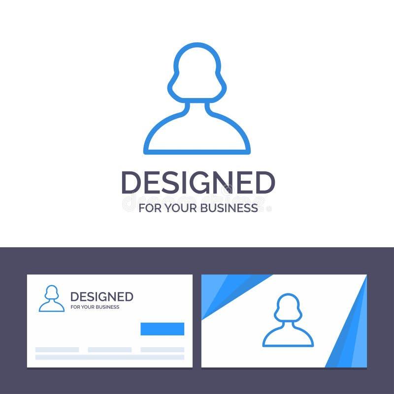 Avatar do molde criativo do cartão e do logotipo, menina, pessoa, ilustração do vetor do usuário ilustração stock