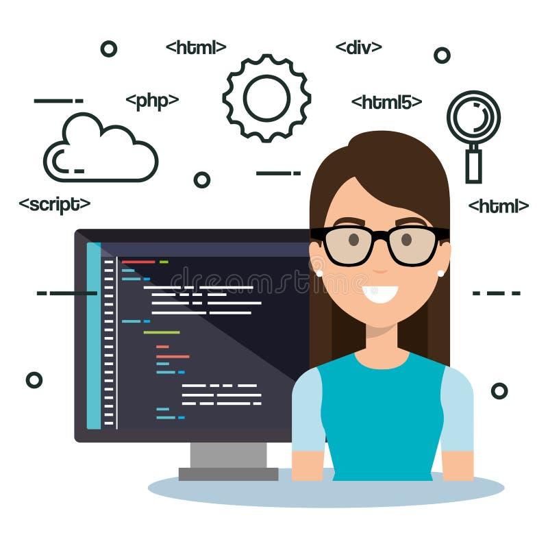 Avatar do programador da língua do software ilustração do vetor