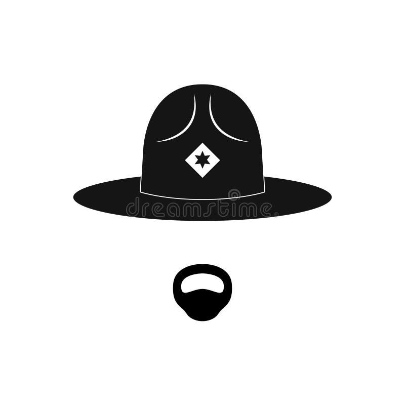Avatar do xerife Polícia Mustachioed no chapéu do círculo ilustração do vetor