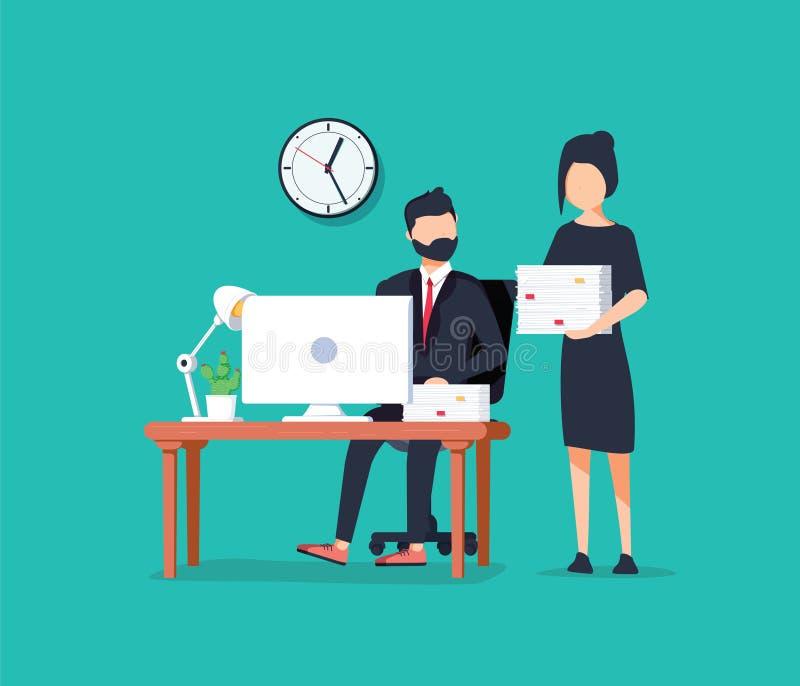 Avatar dos colegas de trabalho do negócio Homem de negócios trabalhador e pilha da terra arrendada da mulher de negócios de papéi ilustração royalty free