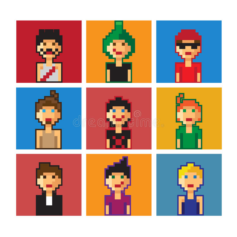 Avatar dos meninos do pixel fotografia de stock royalty free