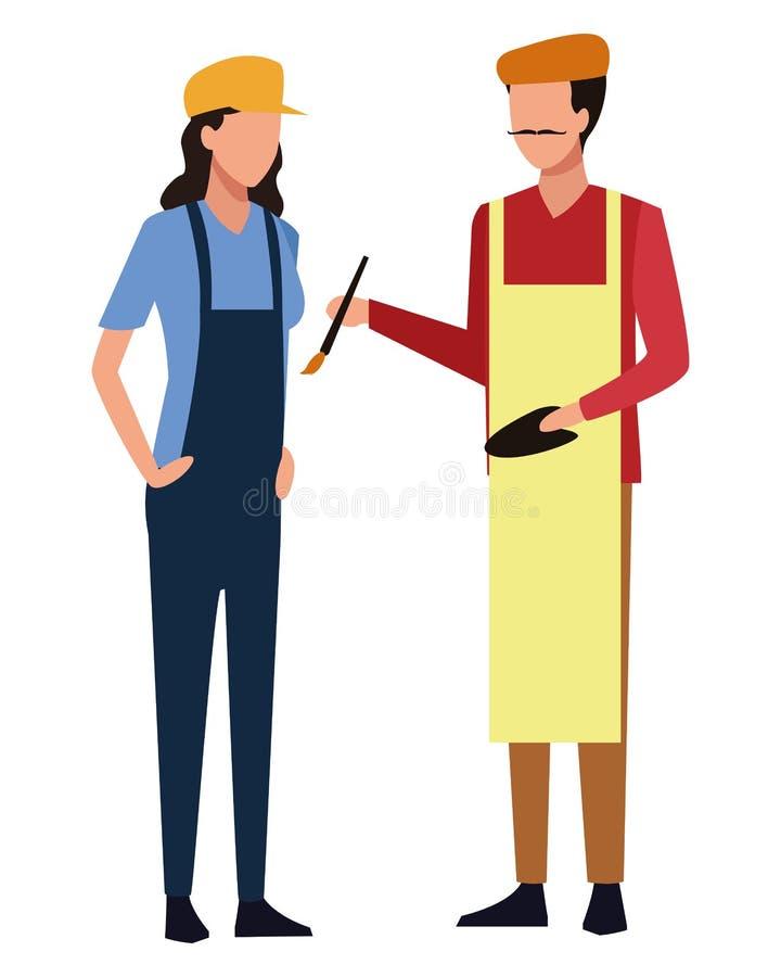 Avatar dos trabalhos e das profissões ilustração do vetor