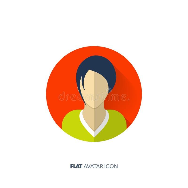 Avatar em um estilo liso pessoa Media sociais teenager Cara masculina ou fêmea ilustração do vetor