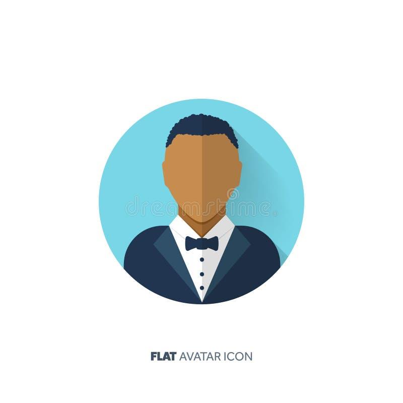 Avatar em um estilo liso pessoa Media sociais teenager Cara masculina ou fêmea ilustração royalty free