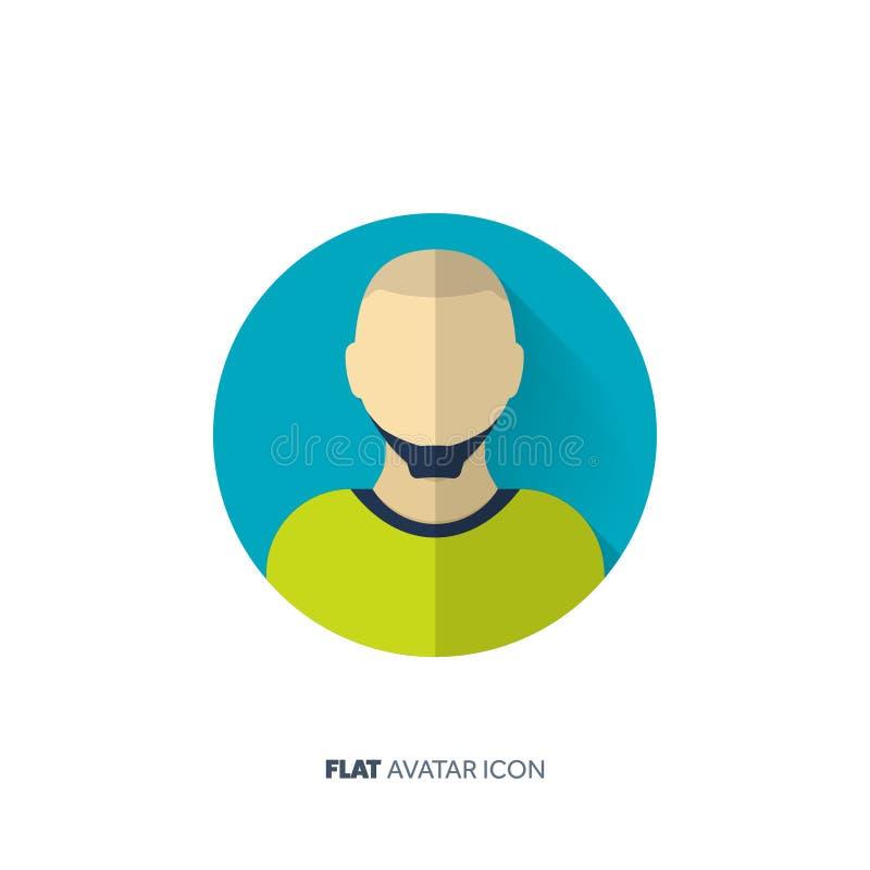 Avatar em um estilo liso pessoa Media sociais teenager Cara masculina ou fêmea ilustração stock