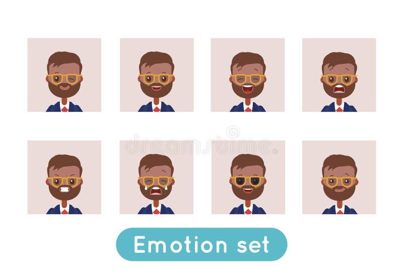 Avatar emoci set Indiański biznesmen ilustracji