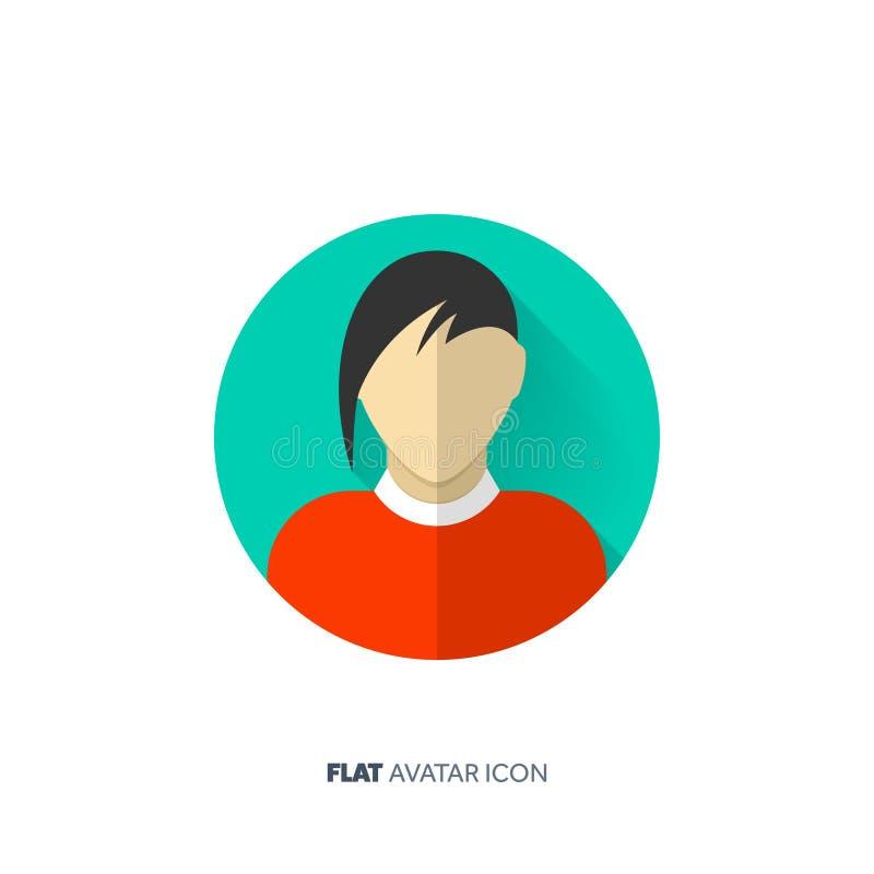 Avatar en un estilo plano Persona Media sociales adolescente Cara masculina o femenina stock de ilustración
