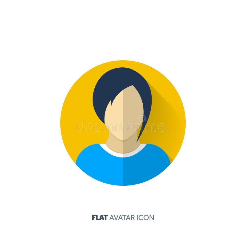 Avatar en un estilo plano Persona Media sociales adolescente Cara masculina o femenina libre illustration