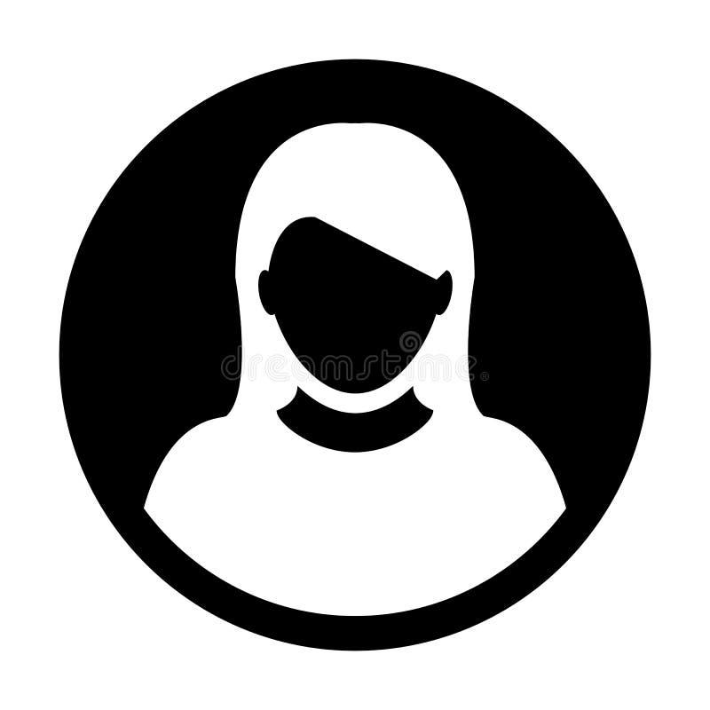 Avatar fêmea do perfil de usuário do vetor do ícone da pessoa ilustração do vetor