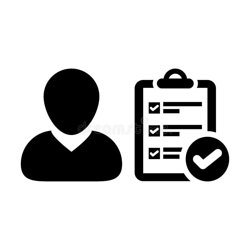 Avatar för profil för manlig person för skrivplattasymbolsvektor med dokumentet för granskningskontrollistarapport och fästingsym vektor illustrationer