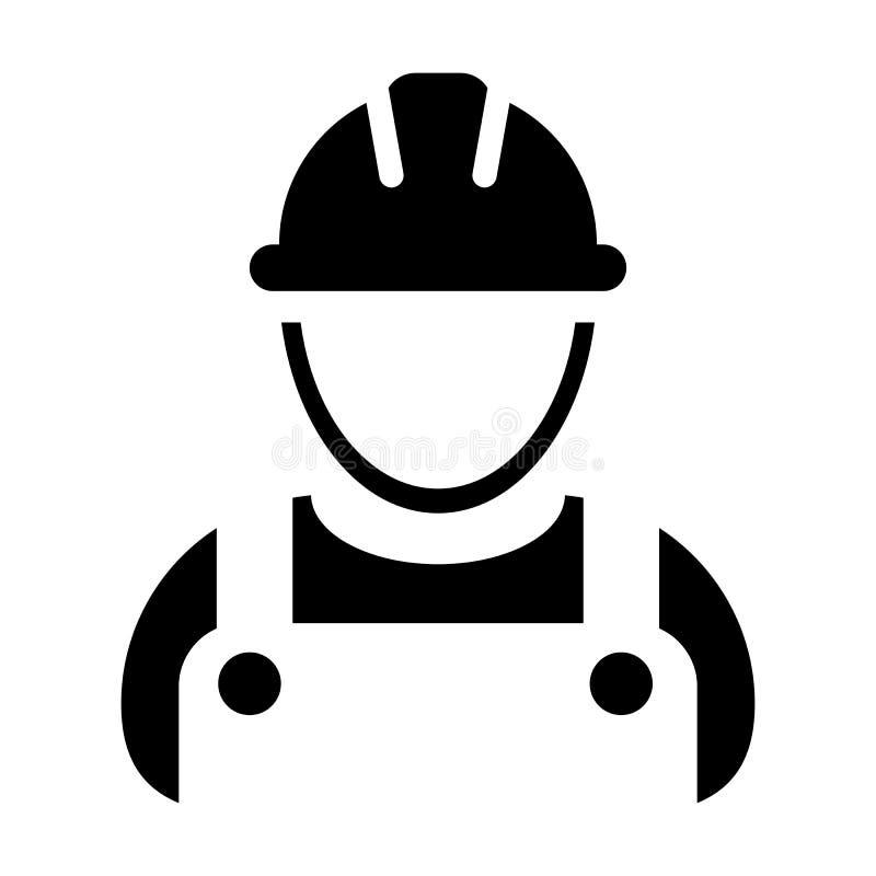Avatar för profil för person för service för konstruktion för arbetarsymbolsvektor manlig med hardhathjälmen och omslag i skårapi royaltyfri illustrationer