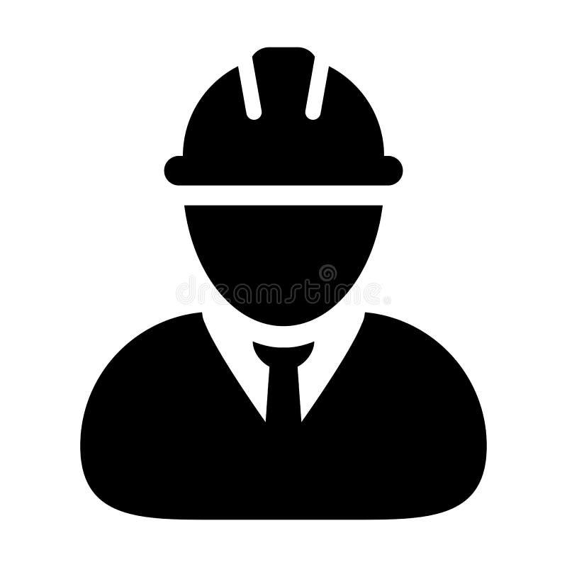 Avatar för profil för person för service för konstruktion för vektor för säkerhetsarbetarsymbol manlig med hardhathjälmen i skåra royaltyfri illustrationer