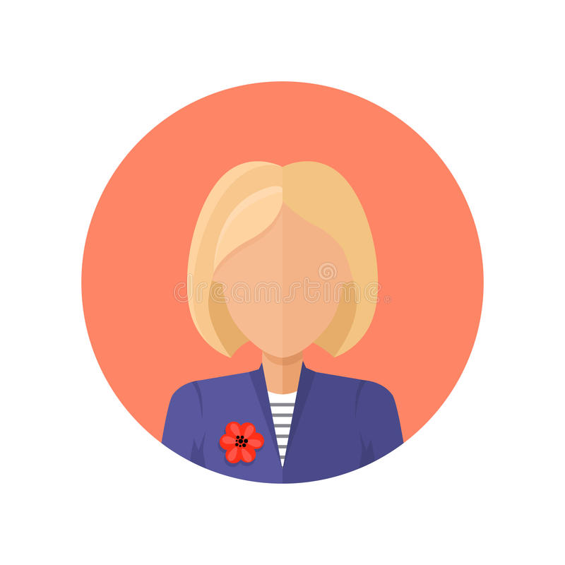 Avatar för ung kvinna utan ansikts- särdrag royaltyfri illustrationer