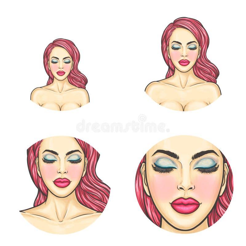 Avatar för vektorpopkonst, symbol - sexig framsida för kvinna s med kulört färgat hår, ljus makeup för pratstund, blogg som knyte stock illustrationer