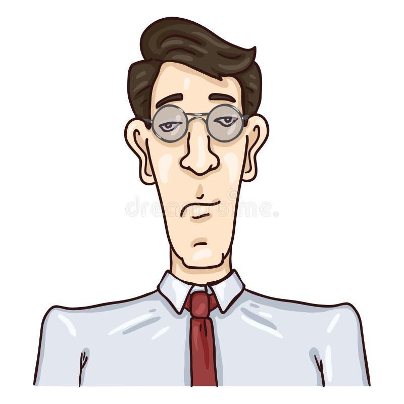 Avatar för vektortecknad filmaffär - ung man för svart hår i exponeringsglas och slips Stående för manligt tecken för man royaltyfri illustrationer