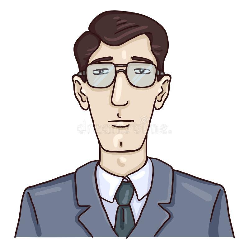 Avatar för vektortecknad filmaffär - ung vit man i Gray Suit vektor illustrationer