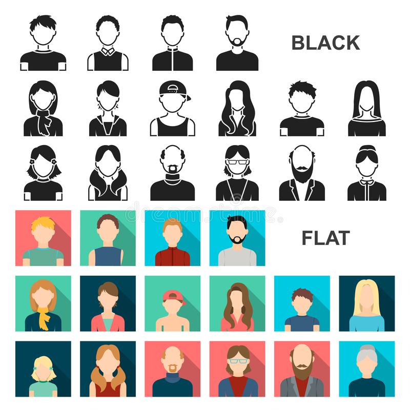 Avatar and face flat icons in set collection for design. A person appearance vector symbol stock web illustration. vector illustration
