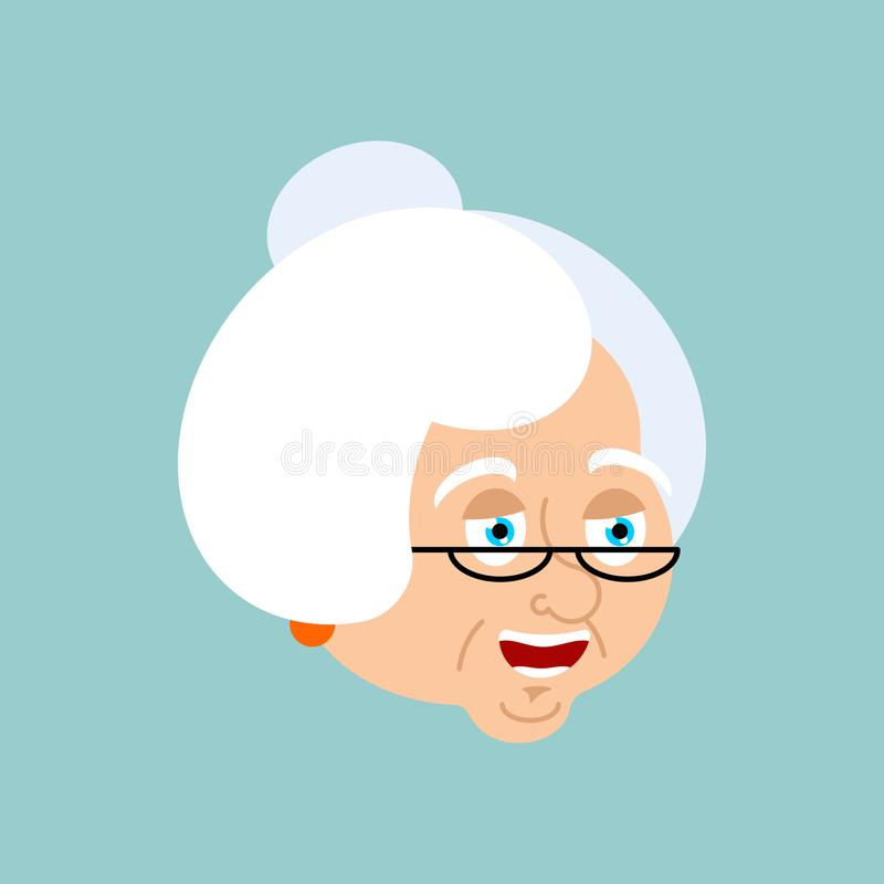 Avatar feliz de la emoción de la abuela Emoji de la abuela de la cara feliz viejo libre illustration